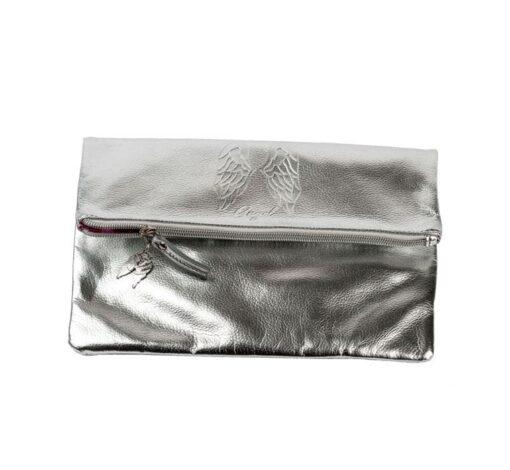 Victoria's secret silver pink bag front 3
