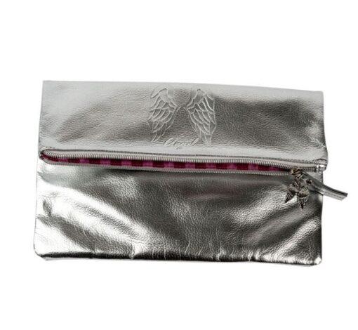 Victoria's secret silver pink bag front 5