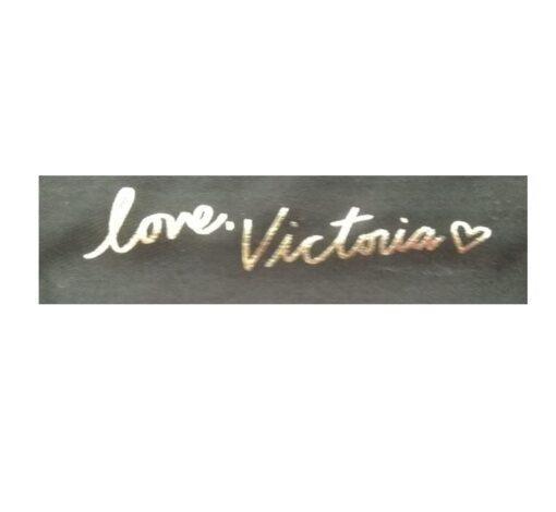 Victoria secret woman black bag elegant front signature inside
