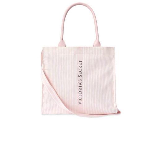 Victoria's secret pink stripes logo bag